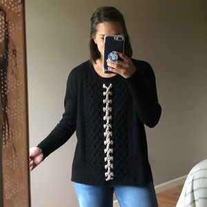 Label + Thread Black Cable Knit Tan Rope Sweater